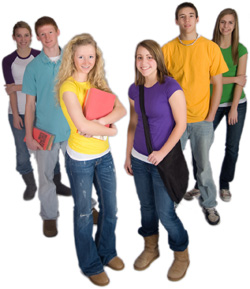 Students standing in a group
