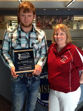 Matthew Schoenbauer , award winner with coach Shellie Kriha