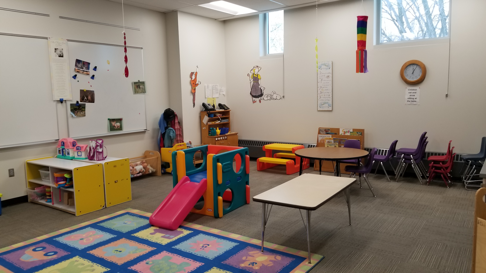 Free Drop-in Childcare is provided for children ages 3 months through 9 years of age at certain times during the week.