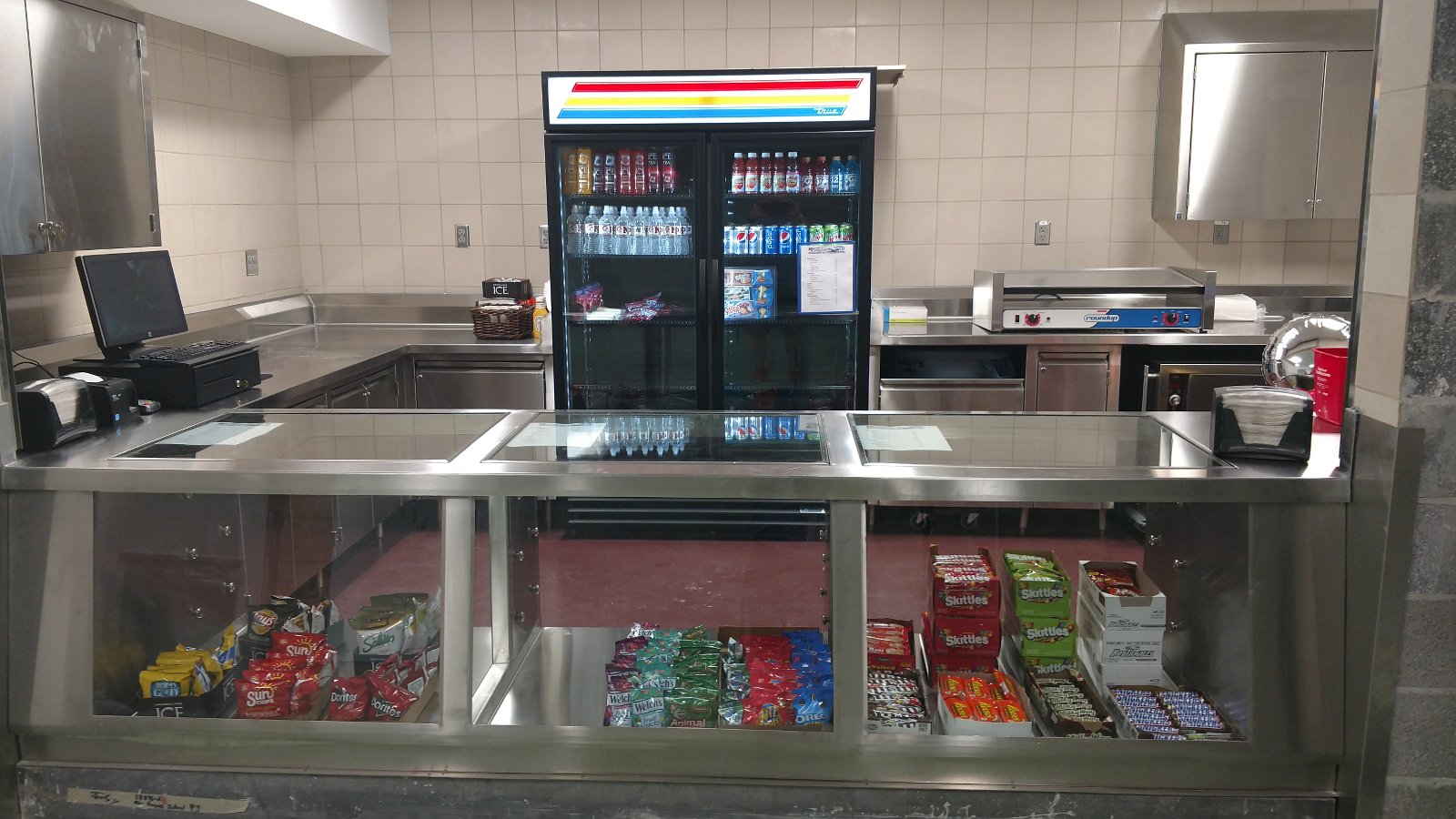 Fully stocked concession stand.