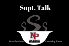 Supt Talk. New Prague area schools logo. bowl of steamy soup