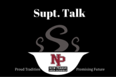Supt Talk. New Prague area schools logo. bowl of steamy soup